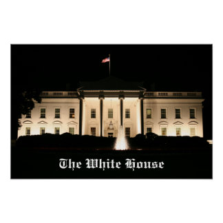 The White House At Night - Northern Facade Poster