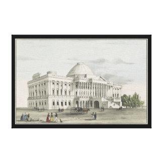 The White House, Capitol at Washington Lithograph Canvas Print