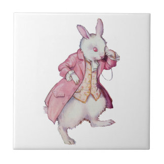 The White Rabbit from Alice in Wonderland Small Square Tile