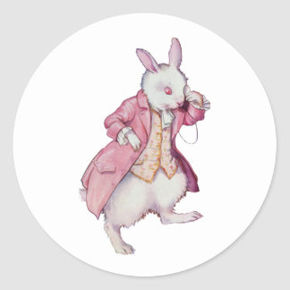 The White Rabbit or Peter Cottontail Round Sticker