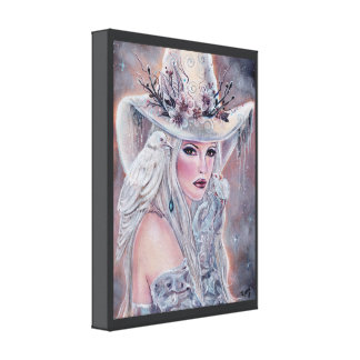 The white witch poster with raven by Renee Lavoie Canvas Print