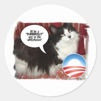 The Whitehouse Pet Kitty Cat Round Sticker