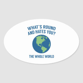 The Whole World Oval Sticker