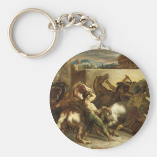 The Wild Horse Race at Rome by Theodore Gericault Basic Round Button Key Ring