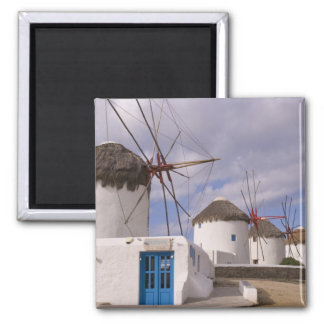 The windmills of Mykonos on the Greek Islands Square Magnet