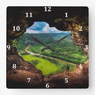 The Window Cave, Puerto Rico Square Wall Clock