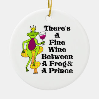 """The Wine Prince """"Fine Wine Between Frog & Prince"""" Ceramic Ornament"""