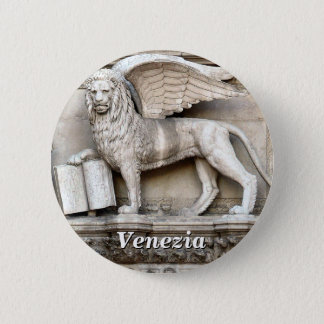 The Winged Lion of Saint Mark Statue 6 Cm Round Badge