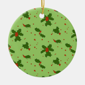 The Winter: Happy Holly Days Pattern Ceramic Ornament