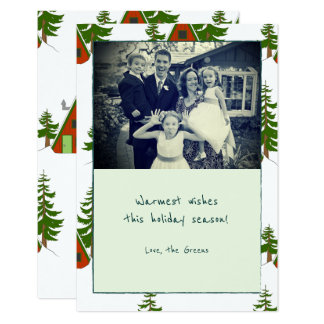 The Winter: Holiday Cabin Pattern Photo Note Card