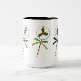 The Winter: Holiday LolliPops Illustrated Two-Tone Coffee Mug