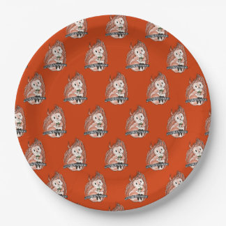 The Winter: Squirrel's Holiday Pattern on Red 9 Inch Paper Plate