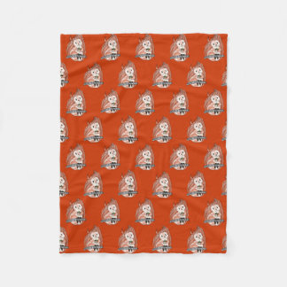 The Winter: Squirrel's Holiday Pattern on Red Fleece Blanket