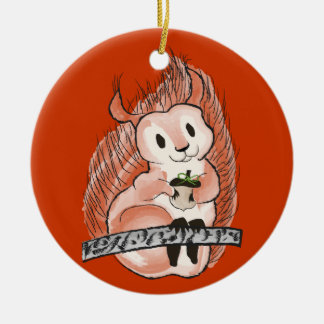 The Winter: Squirrel's Holiday Pattern on Red Round Ceramic Decoration