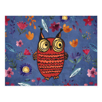 The wise bird owl in flower garden postcard