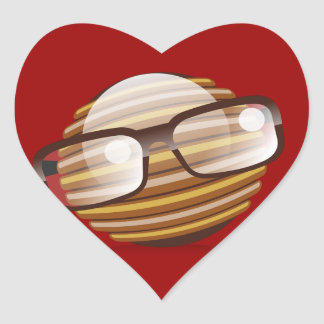The Wise Guy - The Geek Smiley With Glasses Heart Sticker