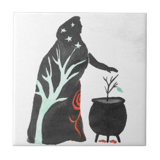 The Witch And Her Cauldron Ceramic Tile