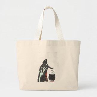 The Witch And Her Cauldron Large Tote Bag