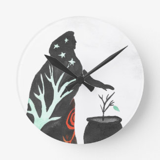 The Witch And Her Cauldron Round Clock