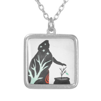 The Witch And Her Cauldron Silver Plated Necklace