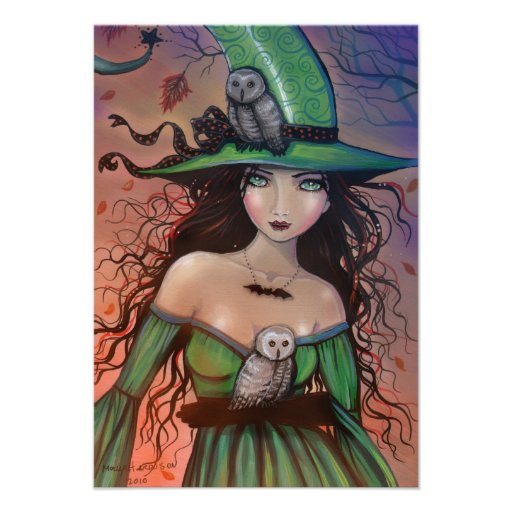 The Witch and the Owls Halloween Postcard Small Invites
