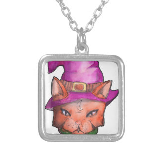 the witch cat silver plated necklace
