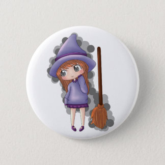 the witch girl. 6 cm round badge