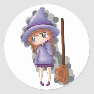 the witch girl. classic round sticker