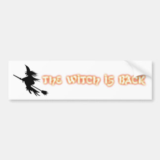 The Witch Is Back | Funny Halloween Orange Black Bumper Sticker