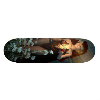The witch speaks with their firefly in the night skateboard