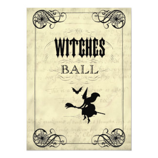 "The Witches Ball Halloween 5.5"" X 7.5"" Invitation Card"