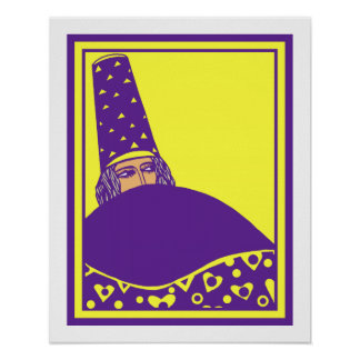 The wizard, vector drawing in yellow and purple poster