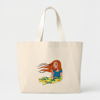 The woman in flowers canvas bag