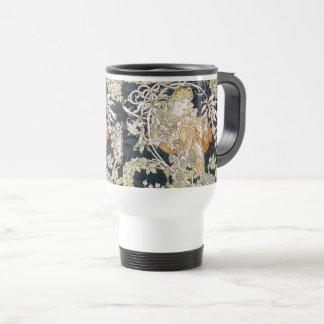 The woman who has miyushiya and hinagiku travel mug