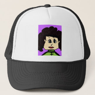 the women with black hair trucker hat
