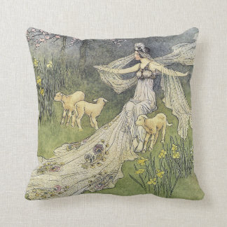 The Woodcutter's Daughter Warwick Goble Fine Art Cushion