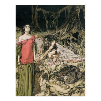 The Wooing of Grimhilde, the mother of Hagen Postcard