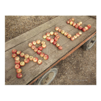 The word 'apple' in apples postcard