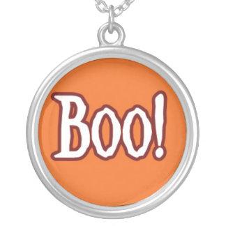 The word BOO on Orange Background.jpg Round Pendant Necklace