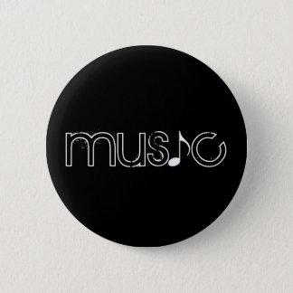 the word music 6 cm round badge