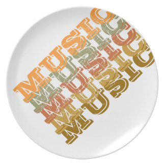 the word MUSIC Party Plates