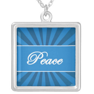 The Word PEace on Blue Starburst.jpg Square Pendant Necklace