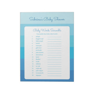 The Word Scramble Blue Ombre Stripes Baby Shower Notepad