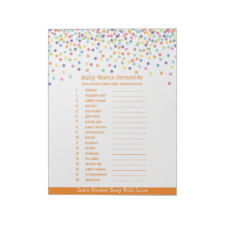 The Word Scramble Confetti Baby Shower Game Notepad
