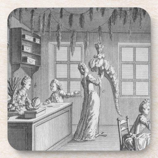 The workshop of a dressmaker, illustration from th beverage coasters