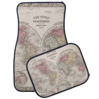 The world 1860 - Eastern & Western hemispheres Car Mat