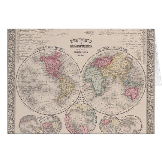 The world 1860 - Eastern & Western hemispheres Card