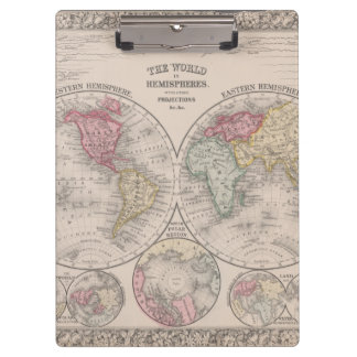 The world 1860 - Eastern & Western hemispheres Clipboard