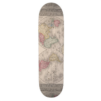The world 1860 - Eastern & Western hemispheres Custom Skateboard