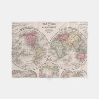 The world 1860 - Eastern & Western hemispheres Fleece Blanket